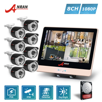 ANRAN P2P Plug Play 1080P HD 8CH POE NVR 12 Inch LCD Monitor 36 IR Outdoor