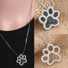 Dog Paw Footprint Silver Crystal Rhinestone Pendant Jewelry Necklace Box Chain