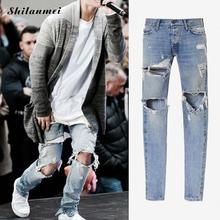 Jeans Men Denim Blue Ripped Jeans Trousers 29-36 High Quality Cotton Mens Brand Jeans