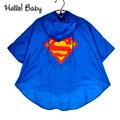 high quality comfortable New Kids boys girls raincoat for children supermen Batman Rainwear Waterproof superhero Rainsuit
