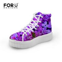 2016 Fashion Women High Top Shoes Flower Pattern Platform Shoes Spring Autumn Girls Outdoor Casual Flat