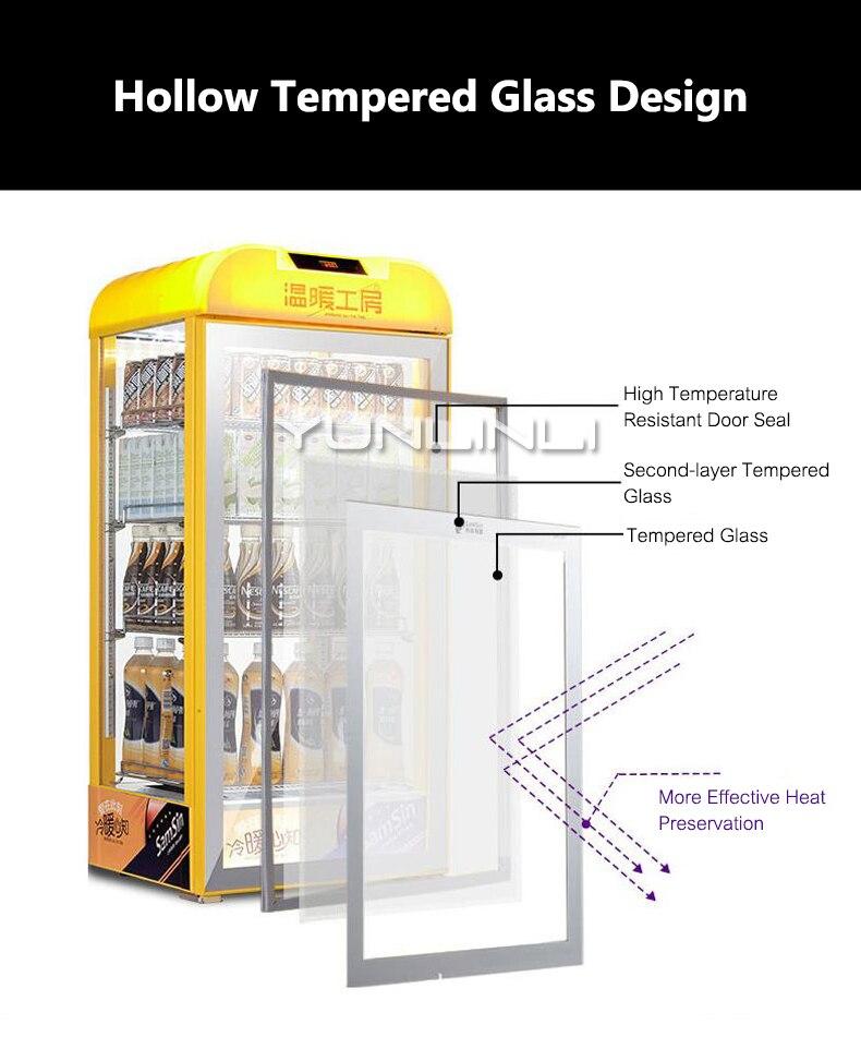 Armário de Exposição de Isolamento Aquecimento comercial Titular Bebida Vitrine Da Preservação Do Calor Caixa de armário De Bebidas SR 65 - 4