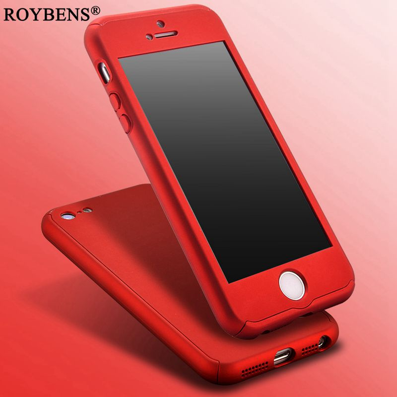 detailed look 87888 62861 Roybens For iPhone 5S Case 360 Degree Coverage Full Protection Case For  iPhone 5 5S SE Luxury Hard PC Cover + Clear Glass Film-in Fitted Cases from  ...