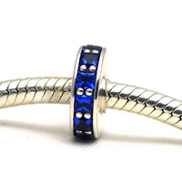 3 Color Pandulaso Eternity Crystal Spacer Beads Sterling-Silver-Jewelry for DIY Bracelets Women Silver 925 Jewelry Making