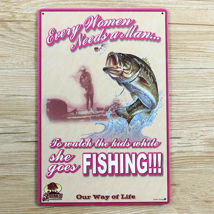 Live Wall Pud Sign Fishing Vintage Home Decor Tin Signs Wall Sticker