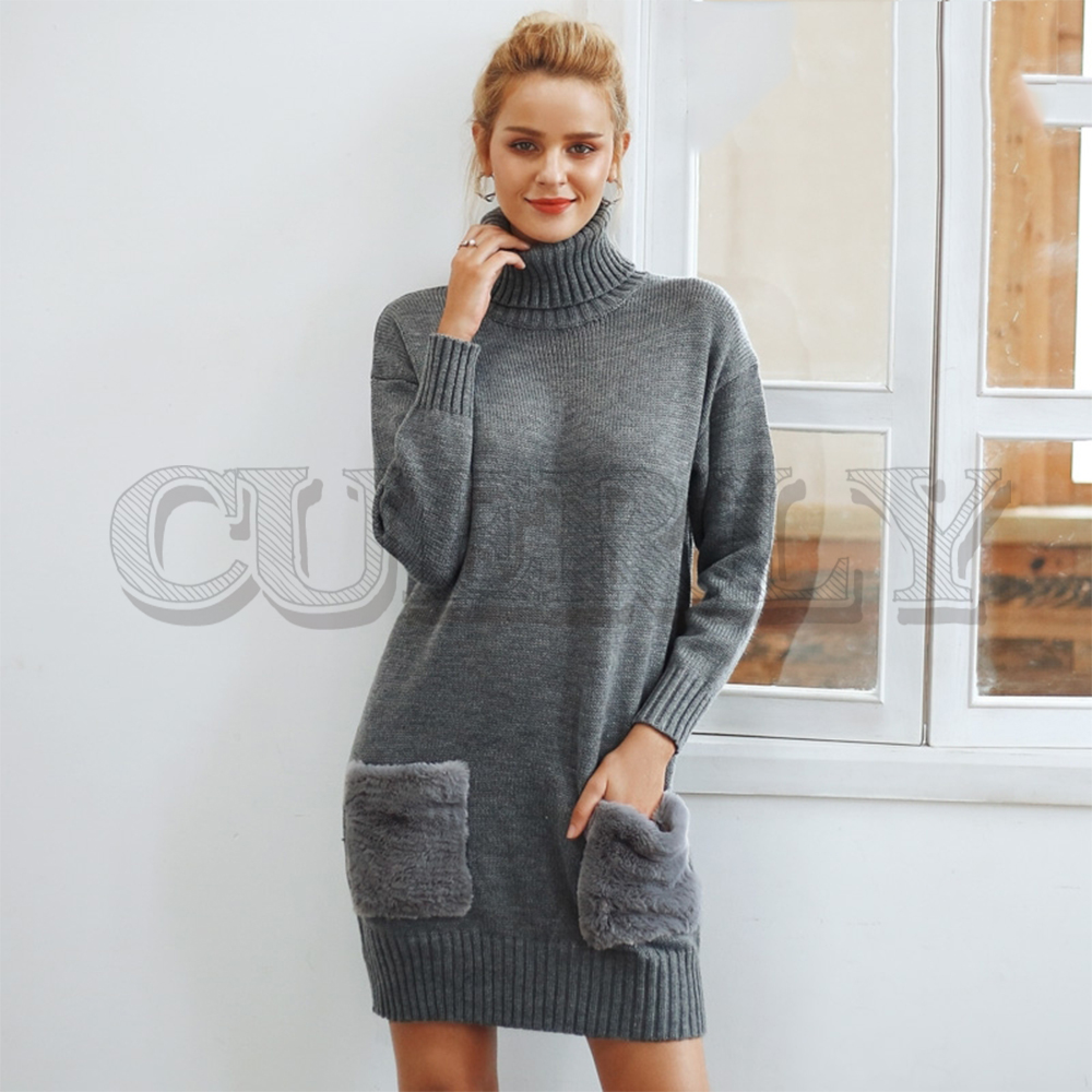 CUERLY Elegant turtleneck knitted women sweater dress Faux fur patchwork pocket ladies 2019 loose autumn winter dresses