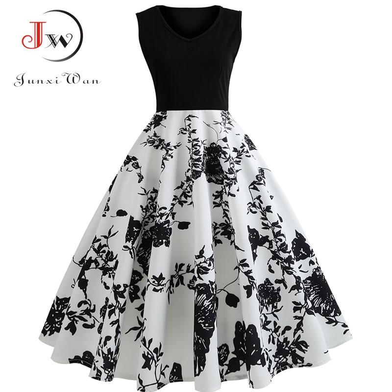 V Neck Sexy  Summer Dress Women Floral Print Patchwork Vintage Dress Hepburn 50s Elegant Party Dresses Plus Size Sundress