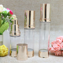 Gold Empty Refillable Bottles Travel Essential Lotion Cosmetic Container  20ml 30ml 40ml Airless Pump Bottle 100pcs/lot