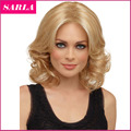 Free Shipping Fashion Women Short Wig Wavy Blonde Wigs Hightlighted Golden Aliexpress UK Sexy Natural Fashion Wig Synthetic Wigs