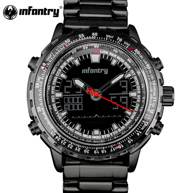 3b460553b99 INFANTARIA Mens Relógios Top Marca de Luxo Relógio Militar Homens Aviador  Do Exército Tático Digital Esporte