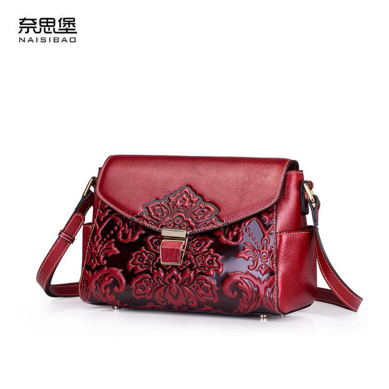 Genuine Leather women bag Chinese wind embossed shoulder bag 2018  new leisure wild shoulder Messenger bag Shell packageGenuine Leather women bag Chinese wind embossed shoulder bag 2018  new leisure wild shoulder Messenger bag Shell package