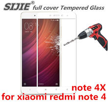 full cover Tempered Glass for xiaomi redmi note 4 4X global 3GB 32GB 4GB 64GB 5.5 inch screen protective toughened frame edge on(China)
