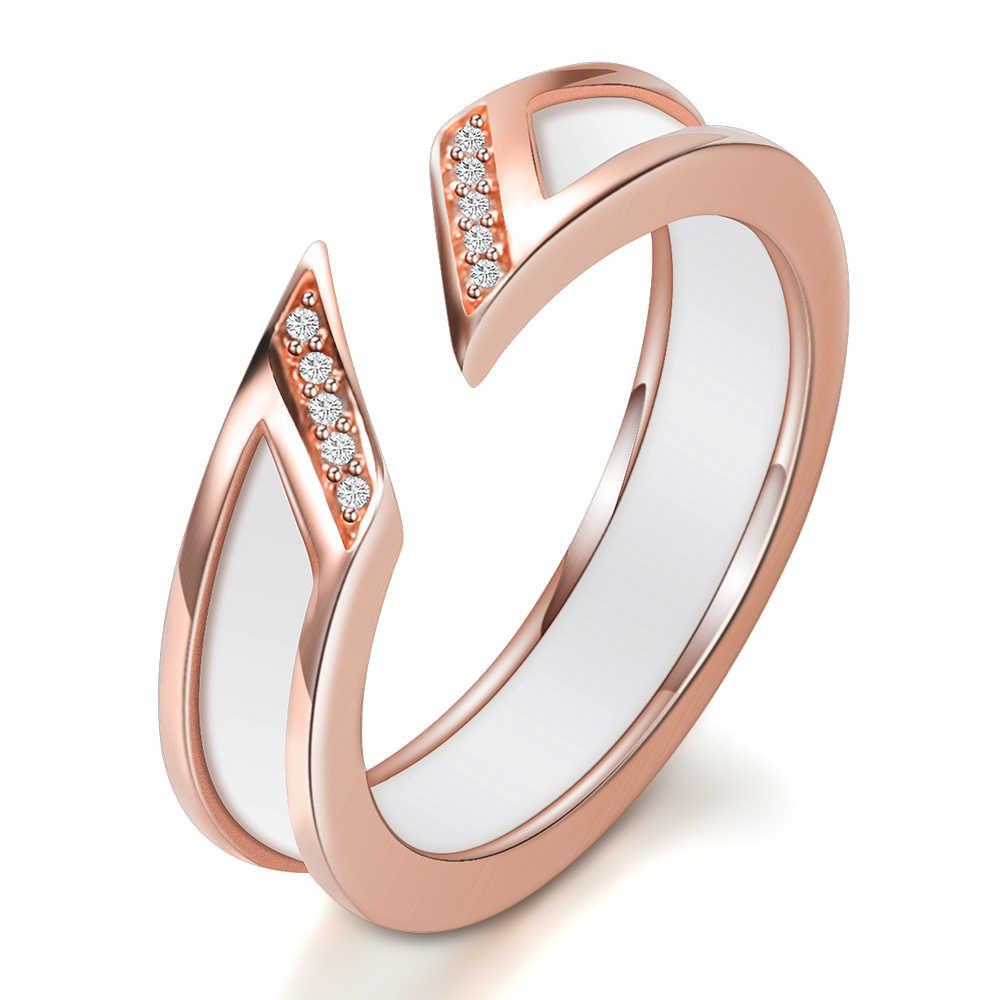 แหวนเซรามิคสีขาวหนึ่งแถวออสเตรเลีย Zircon Rose-gold งานแต่งงานโลหะเปิดแหวน