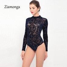 Ziamonga, боди, женские комбинезоны, обтягивающий комбинезон, короткий, осенний, сексуальный, черный, синий, красный, в сеточку, с принтом, с длинным рукавом, боди, Macacao Femme