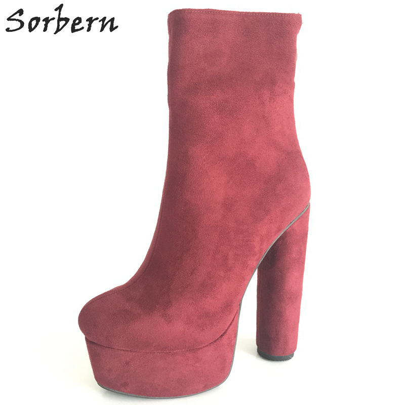 Sorbern Wine Red Round Chunky High Heels Thick Platform Short Women Boots Round Toe Elevator Shoes For Women Big Size 33-46