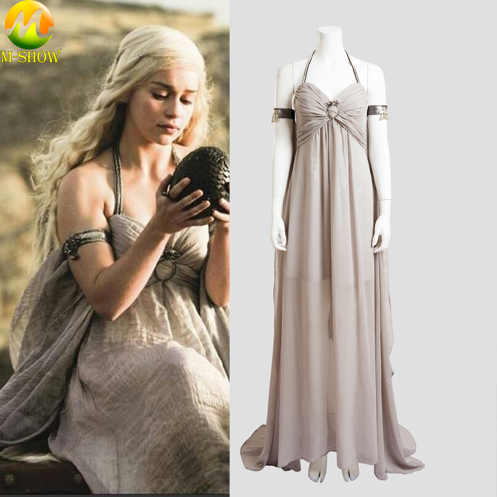 Game of Thrones Daenerys Targaryen Cosplay Grey Long <font><b>Dress</b></font> <font><b>Halloween</b></font> <font><b>Sexy</b></font> Costume For <font><b>Women</b></font> Party <font><b>Dress</b></font> Custom Made image