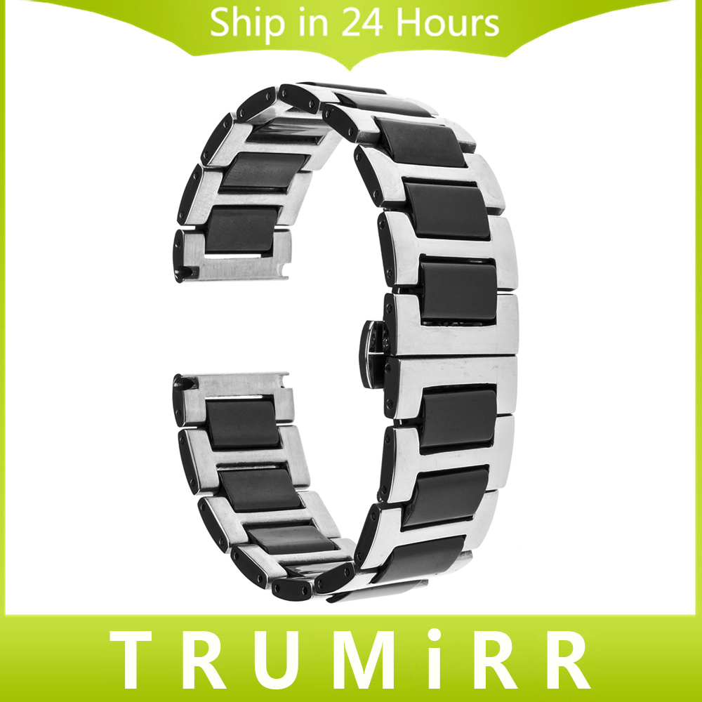 20mm Ceramic & Stainless Steel Watch Band for Samsung Gear S2 Classic R732 & R735 Moto 360 2 42mm Strap Butterfly Clasp Bracelet nylon sports watch band strap adapters for samsung galaxy gear s2 r720 watch band tools for samsung galaxy gear s2 r720