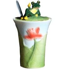 Keramik frosch kaffee tasse wasser cartoon-liebhaber tee milch becher mit deckel