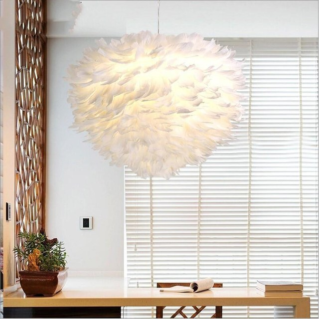 Creative Kids Led White Real Feather Pendant Lights Lamp Decor Fixtures Living Room Kitchen Gift