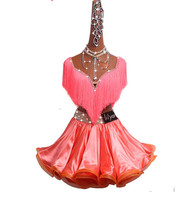 New Latin Dance Suit Sexy Tassel Diamond Tops+Fish bone Skirt 2Pcs Set Suit For Women Girls Stage Competition/Practice Clothing