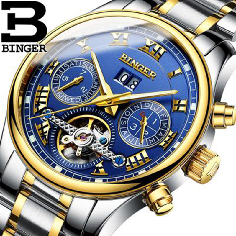 Genuine Luxury BINGER Brand Men Self-wind waterproof full steel automatic mechanical male Luminous fashion Tourbillon watch kinyued brand men self wind waterproof stainless steel strap automatic mechanical male black dial fashion tourbillon watch