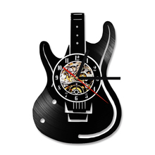 Hollow Electric Guitar Design Vinyl Record Wall Clock Unique Antique Home Wall Decor Musical Instruments Creative Hanging Clock