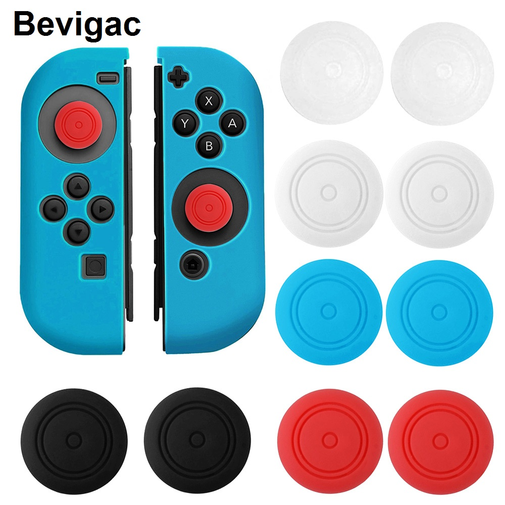Bevigac 10pcs Soft Silicone Case Cover Thumb Stick Grip Cap for Left Right Nintend Switch Joy-Con NS NX Console Controller Game