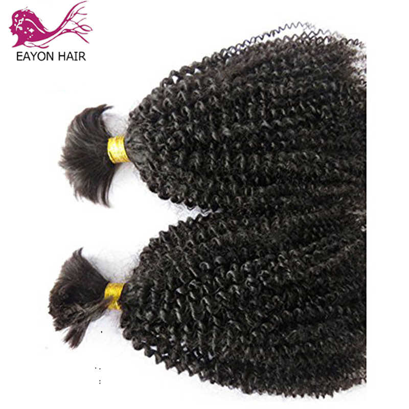 Eayon Малайзии вьющиеся волосы 1/3 пучки волос плетение волос оптом без человеческих волос афро кудрявый вьющиеся человеческие волосы пучки волосы Remy для наращивания