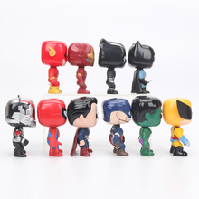 10cm 10pcs/set Justice League & Avengers Figure Set Super Hero Characters Model Vinyl Doll Figures Collectible Model Marvel Toys