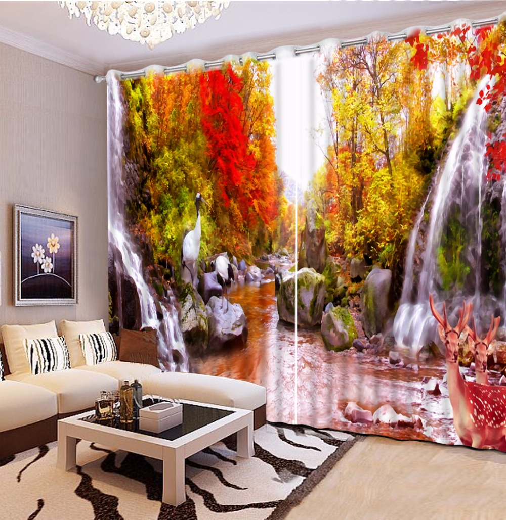 3D Curtain Photo Oil Painting Maple Leaf Creek Deer Curtains For Bedroom Curtains For Living Room Blackout Shade Window