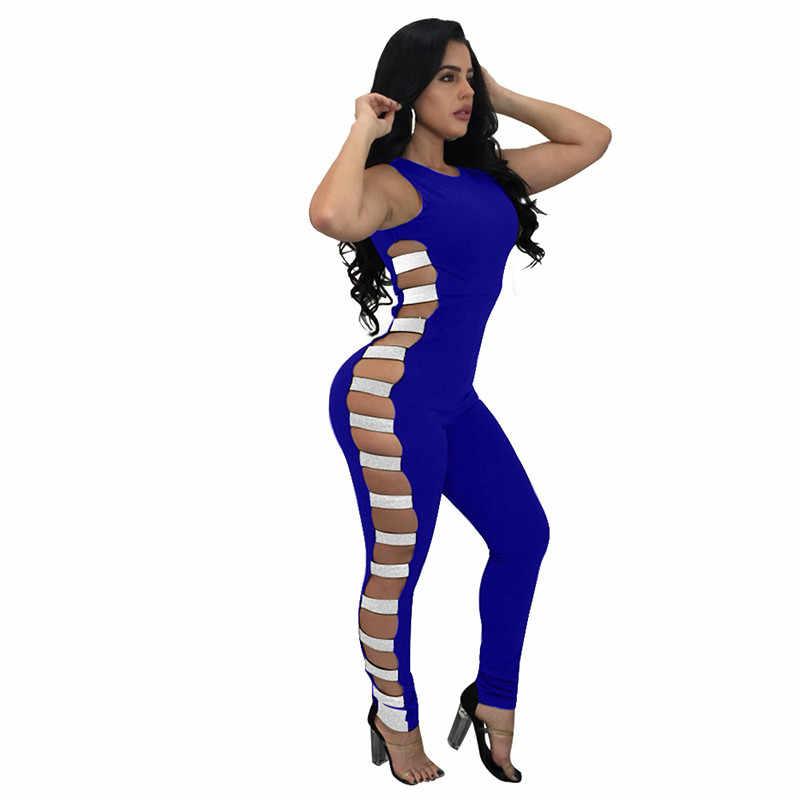 Комбинезон Для женщин s комбинезон без рукавов черный Для женщин Комбинезоны сексуальные бинты выдалбливают узкие длинные штаны вечерние Club Комбинезоны