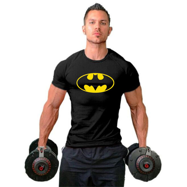 Batman Mens Tshirts Muscle Brand Fitness men Bodybuilding Workout Clothes Cotton gyms Sporting T Shirt Men plus size tops