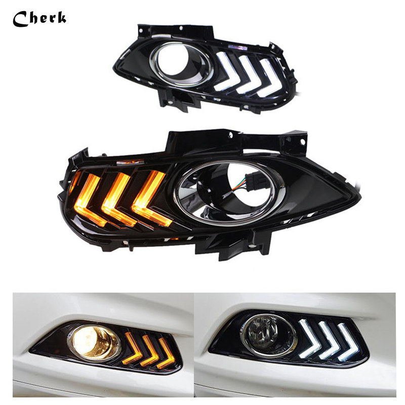 Day Light For Ford Mondeo  2013 2014 2015 LED DRL Daytime Running Light with Yellow Turn Light Function With Fog Lamp Hole tcart drl headlights with turn signal lights for ford mondeo 2013 2016 daytime running light auto led day driving fog lamp