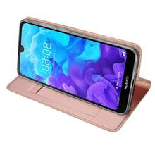 Kuulee for Huawei Y5 2019/Honor 8S Solid Color Magnetic Attraction Leather Protective Phone Case with Card Slot Bracket(China)