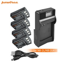 4pcs NB-2L NB 2L NB2L 2LH NB-2LH Camera Li-ion Battery + LCD USB Charger for Canon DC310 DC320 DC330 DC410 DC420 HV20 HG1 L20