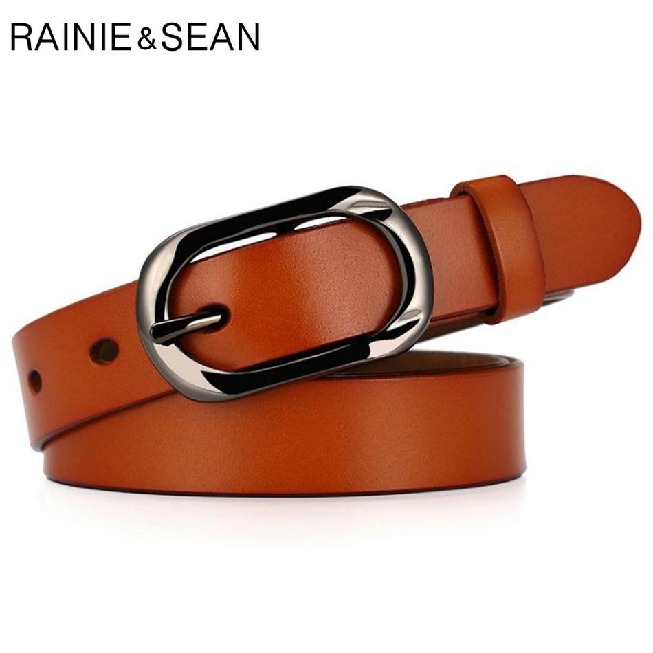 RAINIE SEAN Luxury Designer Belt for Women Brand New High Quality Genuine Leather Pin Buckle Camel Cow Trouser