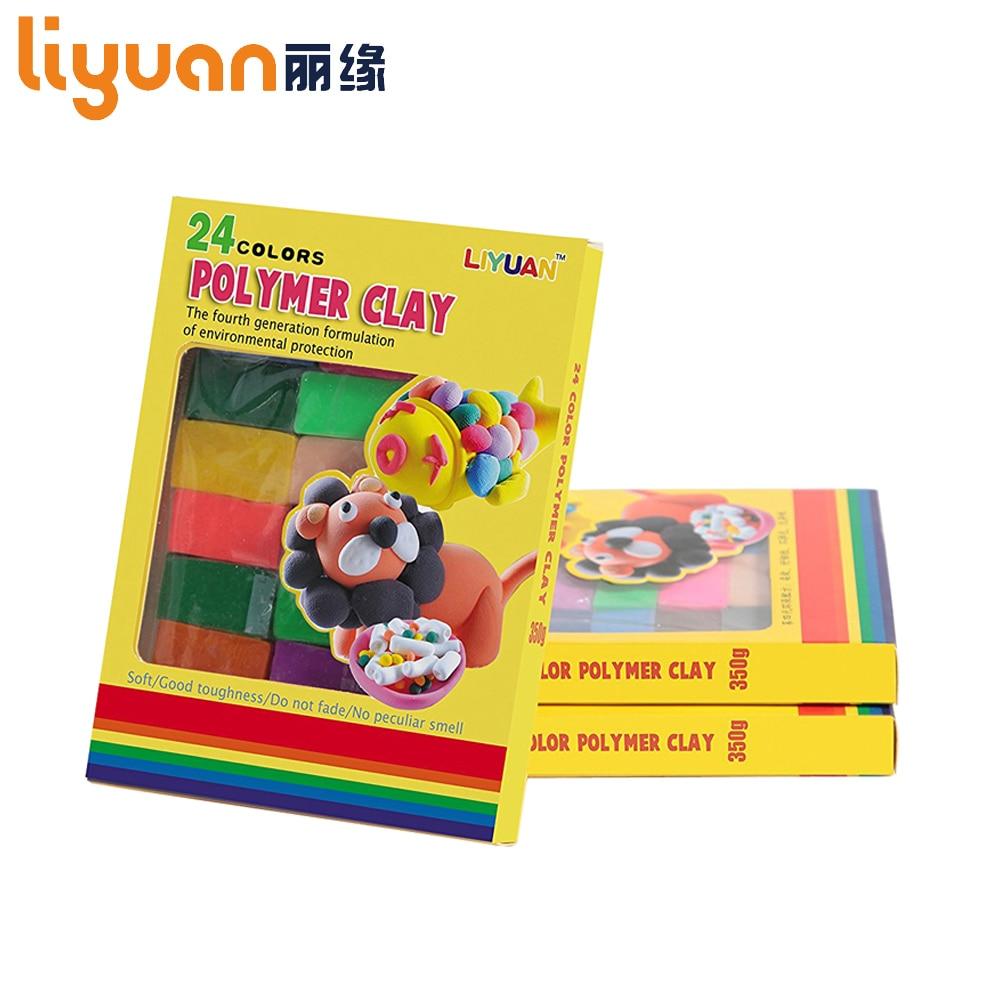 24 farger DIY Håndlaget leire Mud Ovn Bake Polymer Clay Fimo Plasticine Modeling Block Playdough Kids Ikke giftig leketøy