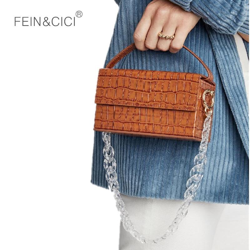 Clear acrylic chains box bag women summer animal print Crocodile alligator leather totes handbag 2019 mesenger