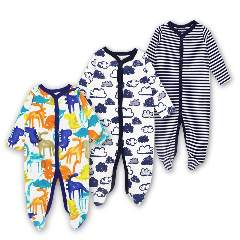 3pieces/lot 100% Cotton Baby Romper Long Sleeves Baby Pajamas Cartoon Printed Newborn Baby Girls Boys Clothes