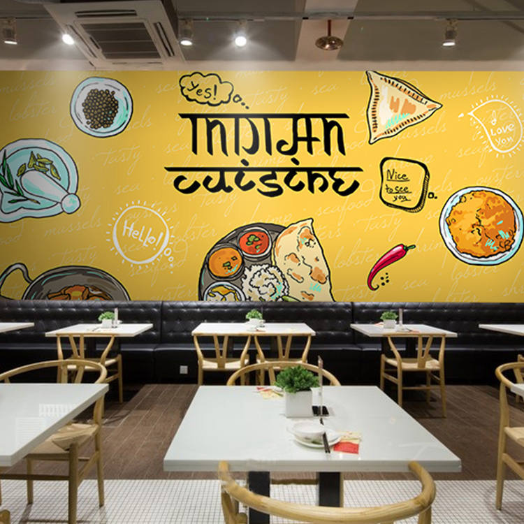Hand painted all around the world cuisine food photo - Memo de cuisine mural ...