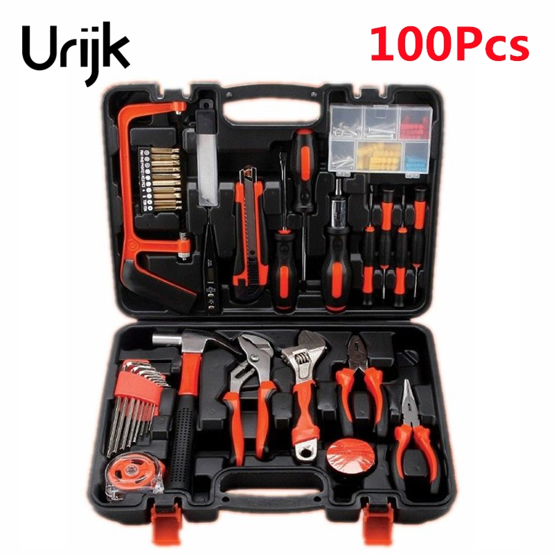 Urijk 100Pcs Household Hand Tools Set Multifunctional Combination Electrician Carpentry Maintenance Hardware Screwdriver Wrench combination of hand tools 16pcs screwdrivers pilers variable tools household tool sets hand tools set