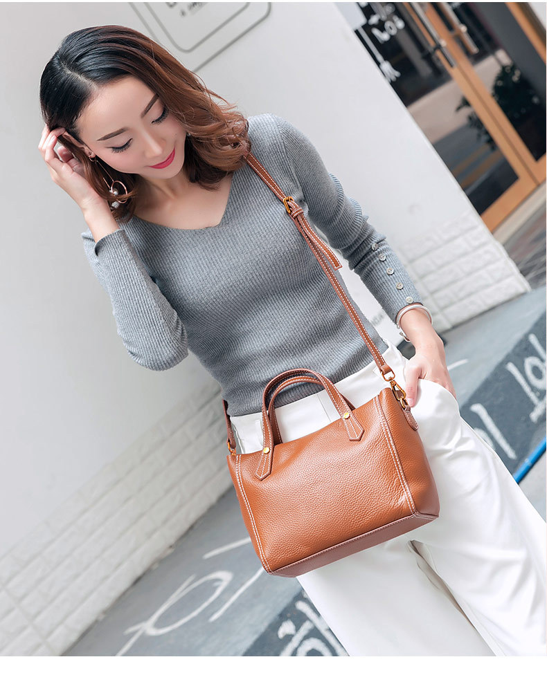 Leather Women Small Tote Bag Shoulder Bags Ladies Classic Handbag Pattern Leather