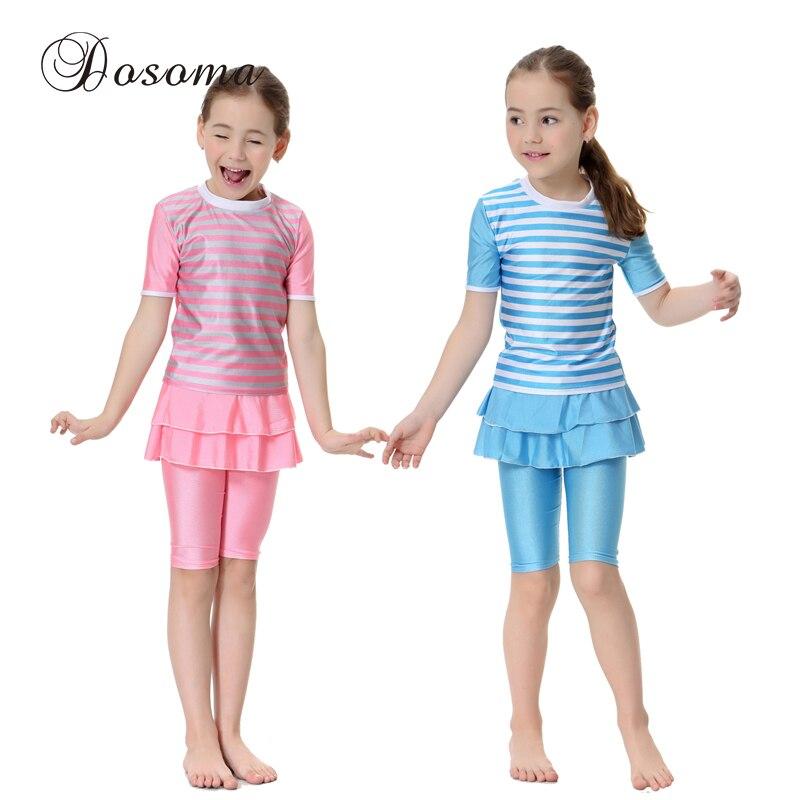 I Bambini islamici Costumi Da Bagno Musulmano della ragazza Costume Da  Bagno Per Bambini Gonna Corta Set di Stampa Beachwear Modest Nuoto Costumi  Da Bagno ... da22cfde5b87