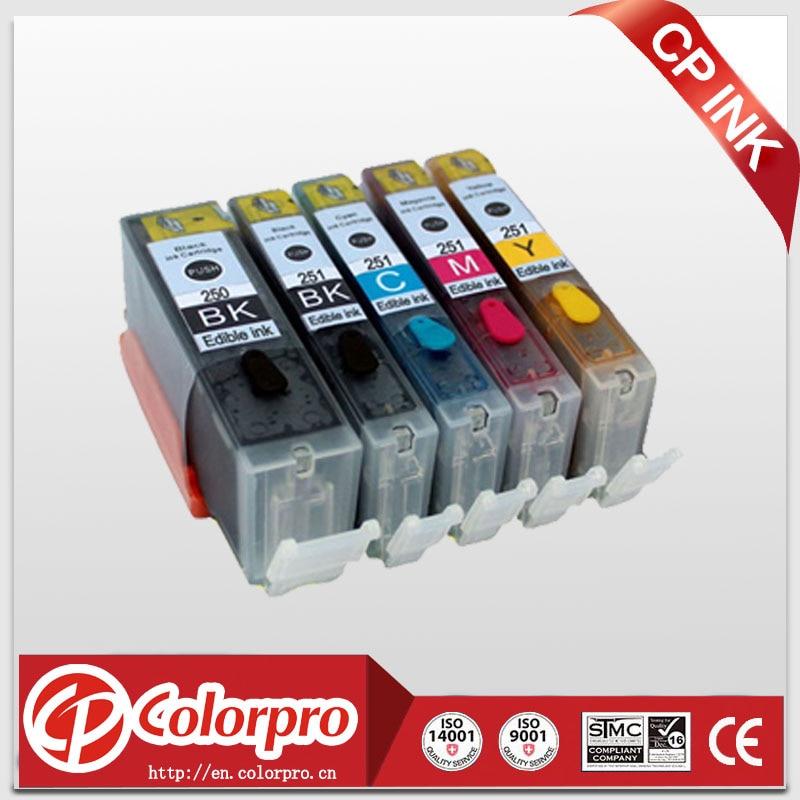 Doprava zdarma 5PK PGI250 CLI251 Jednorázová inkoustová kazeta pro Canon Pixma iP7220, iX6820, MG5420, MG5422, MG5520, MG5522, MG5620