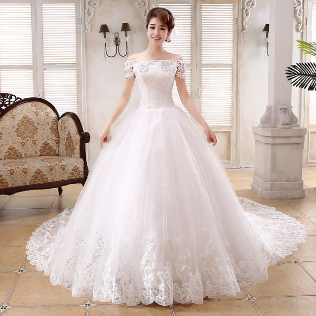 Fashionable Boat Neck Floral Lace Crystal Wedding Dress Royal Train ...