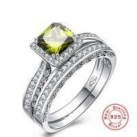 זוג טבעות לנשים כסף סטרלינג S925 תכשיטי סט טבעת מעוקב Zirconia אבן ירוק זית כיכר חתונה Anillos S021