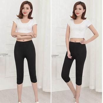 lady summer knee length solid black capris women slim fitted pencil short pants female mujer stretch leggings 1