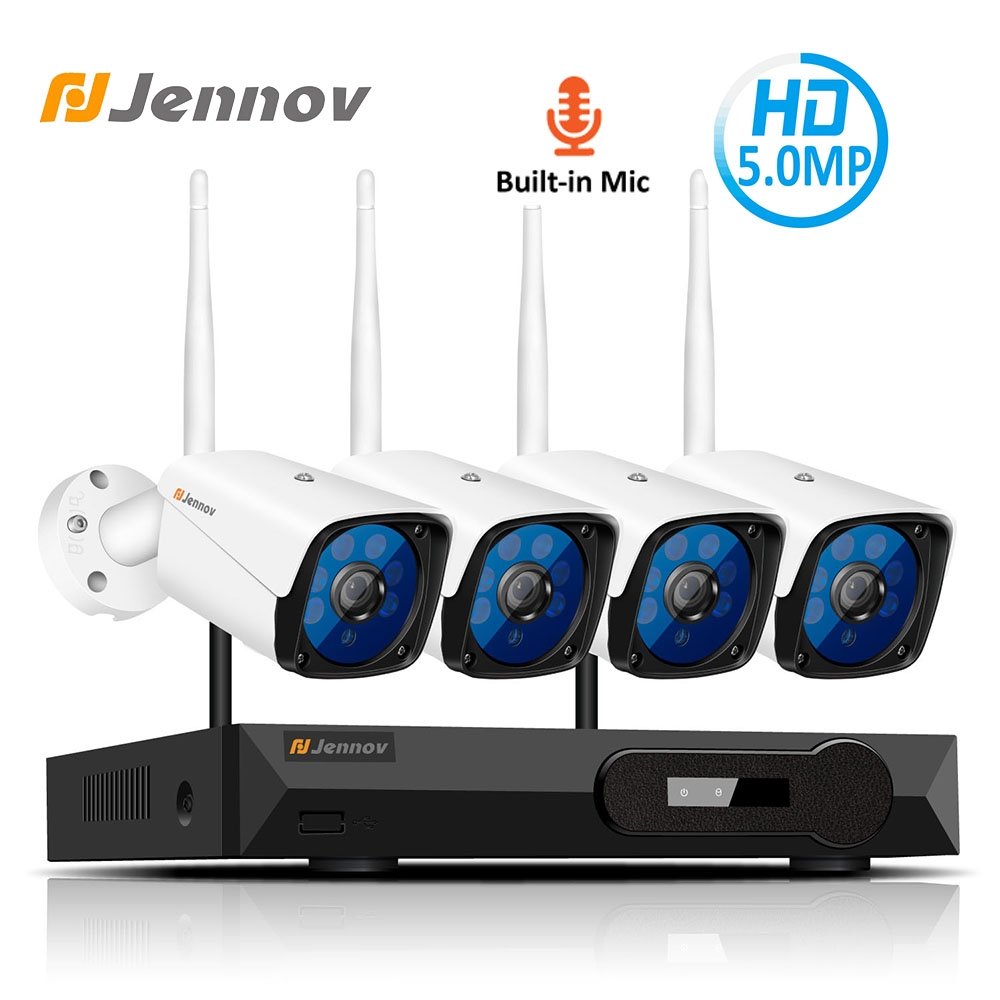 Jennov 4CH 5MP аудио видеонаблюдение Беспроводной NVR комплект камеры безопасности Система видеонаблюдения H.265 WiFi HD уличная IP камера IP66