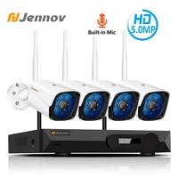 Jennov 4CH 5MP аудио видео наблюдения Беспроводной NVR комплект безопасности Камера Системы комплект видеонаблюдения H.265 Wi Fi HD открытый IP Камера IP66
