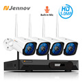 Jennov 4CH 5MP Audio Video Surveillance Wireless NVR Kit Security Camera System CCTV Set H.265 WiFi HD Outdoor IP Camera IP66